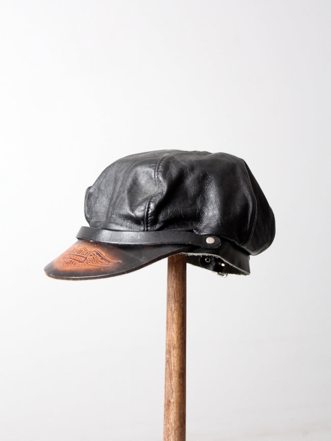 vintage Harley Davidson leather cap