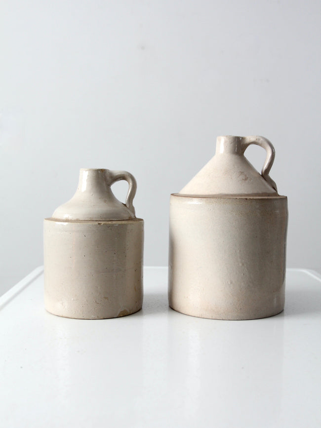 antique American stoneware jugs pair