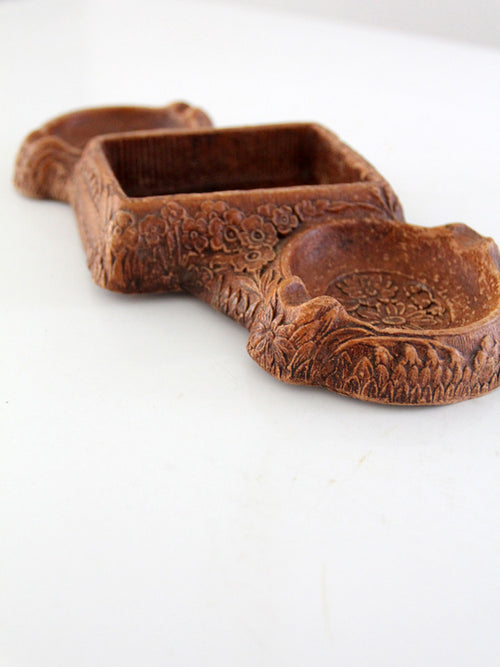 vintage syroco faux bois ashtray dish