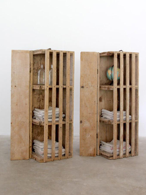 primitive wood farm crate pair
