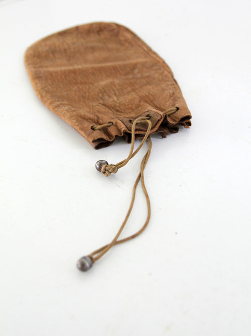 vintage 1920s leather pouch