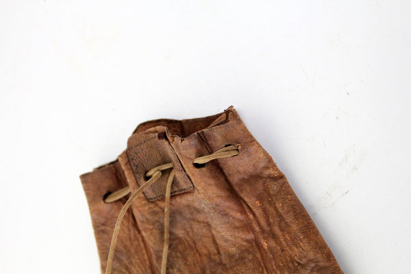 antique leather coin bag