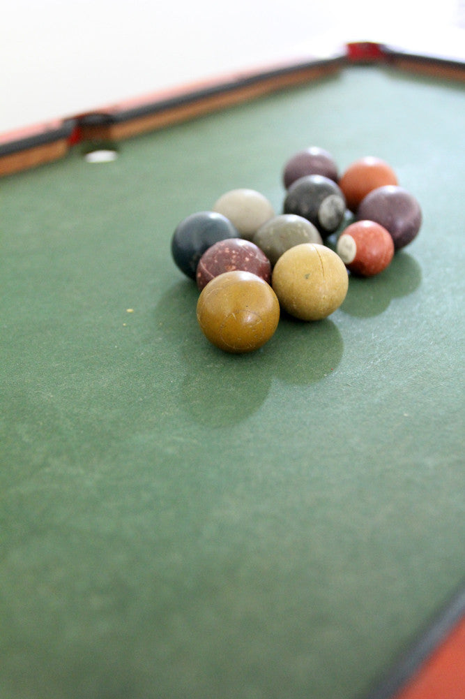 antique 1920's toy billiards table set