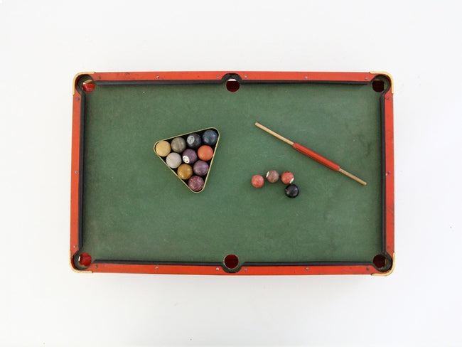 1920s Modern Boy Pool Table Set Vintage Billiards Table