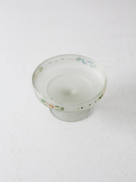 vintage 30s painted satin glass candy dish