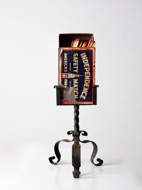 antique oversize matchbox with stand