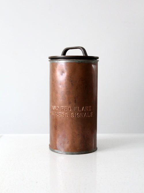 WWII era naval distress signals copper canister