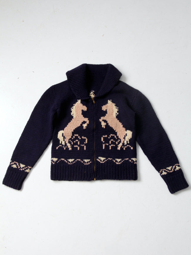vintage hand knit horse sweater