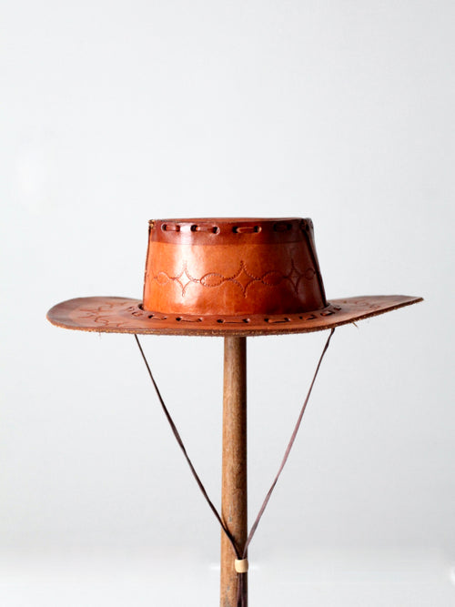 vintage Mexican tooled leather hat