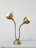 vintage brass two headed lamp