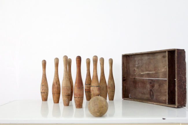 antique wood bowling game