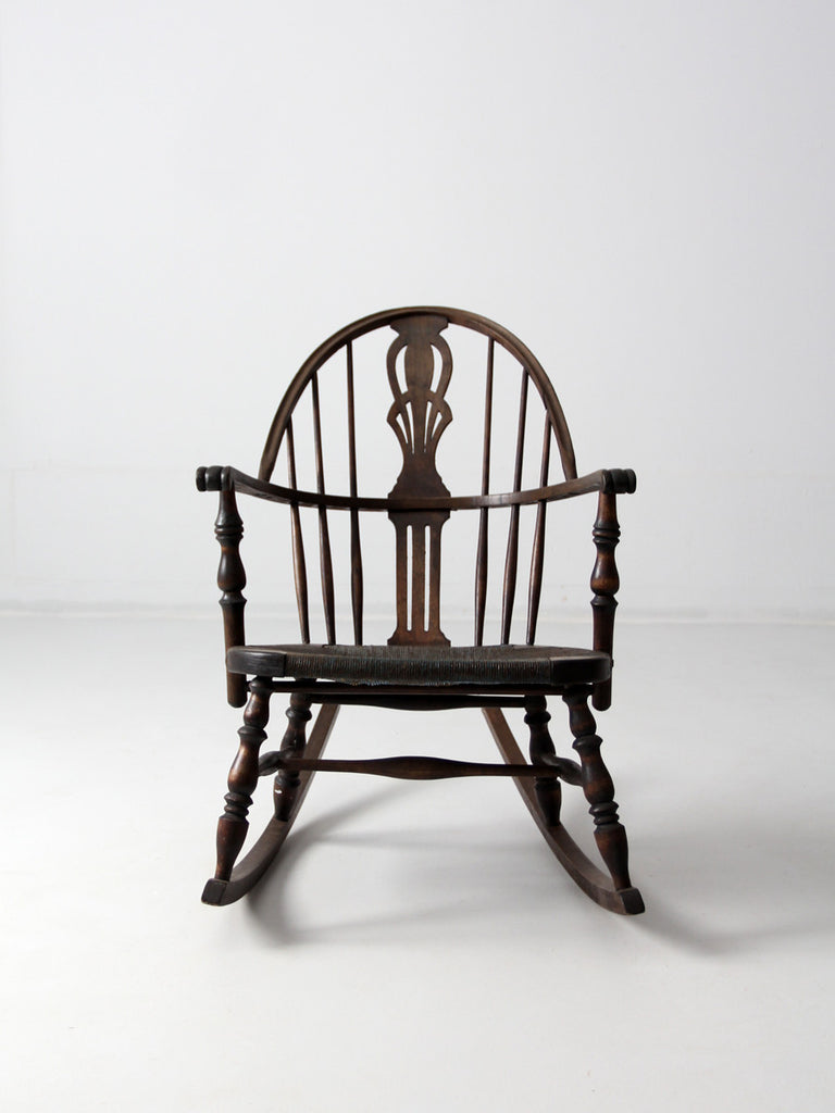 antique windsor rocking chair with rush seat
