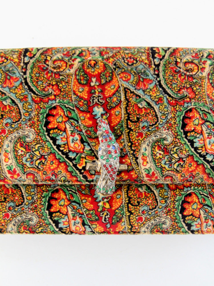 martin van shaak jeweled peacock clutch