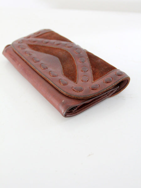vintage 70s leather wallet clutch