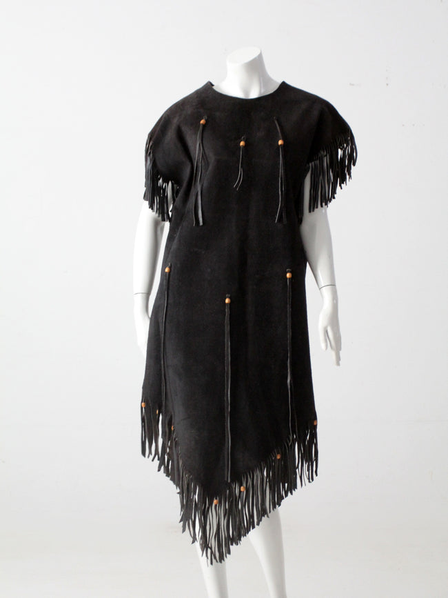 vintage suede leather fringe dress