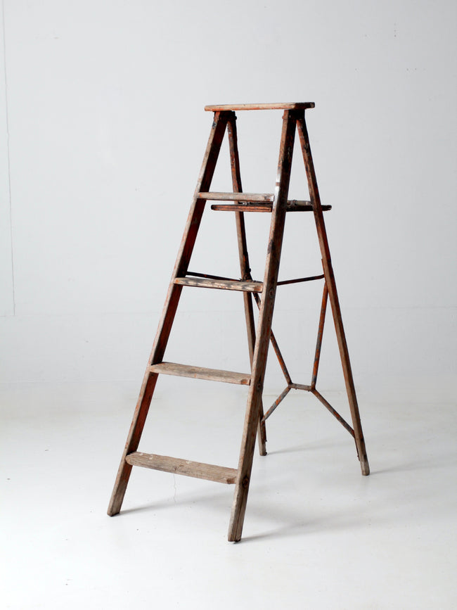 vintage rustic wooden ladder