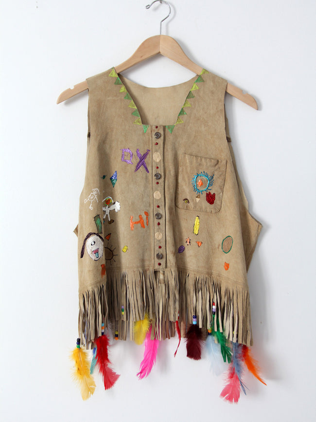 vintage painted leather vest with feathers