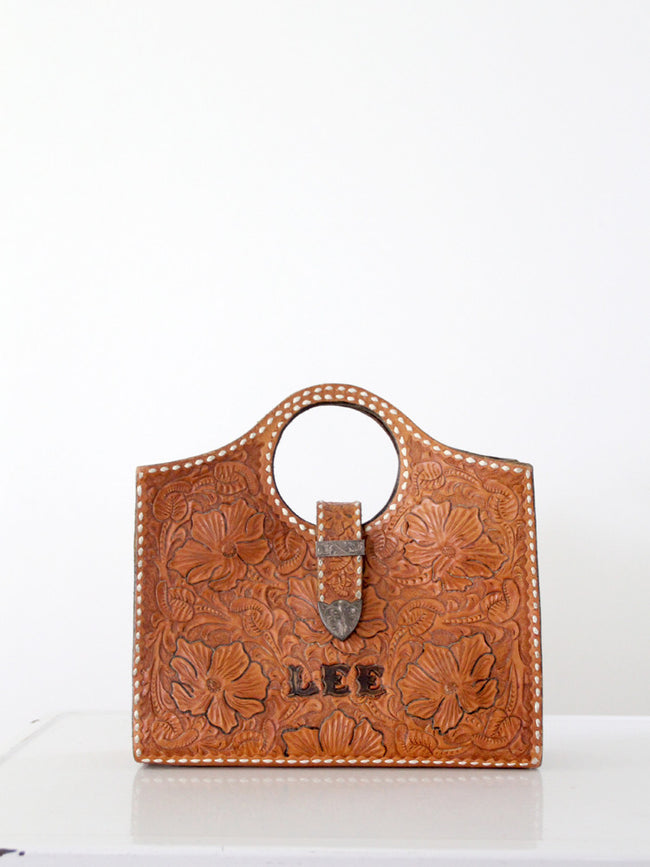 vintage 1950s western tooled leather bag