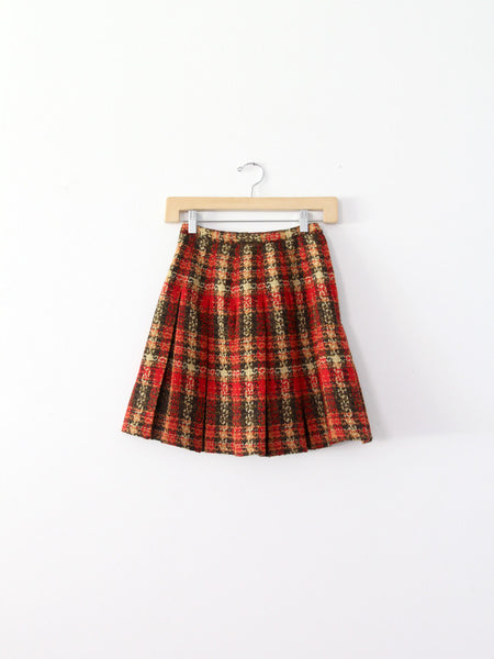 vintage 60s plaid wool skirt