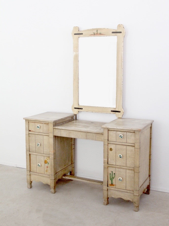 vintage California ranch vanity dresser and mirror by L. Ronney & Sons