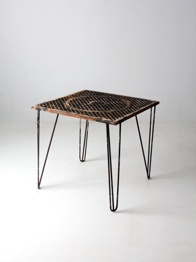 mid-century hairpin leg iron table