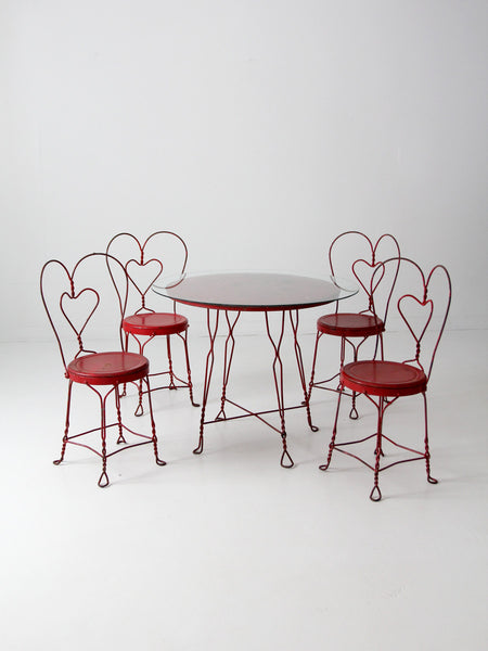 vintage ice cream parlor table set with chairs