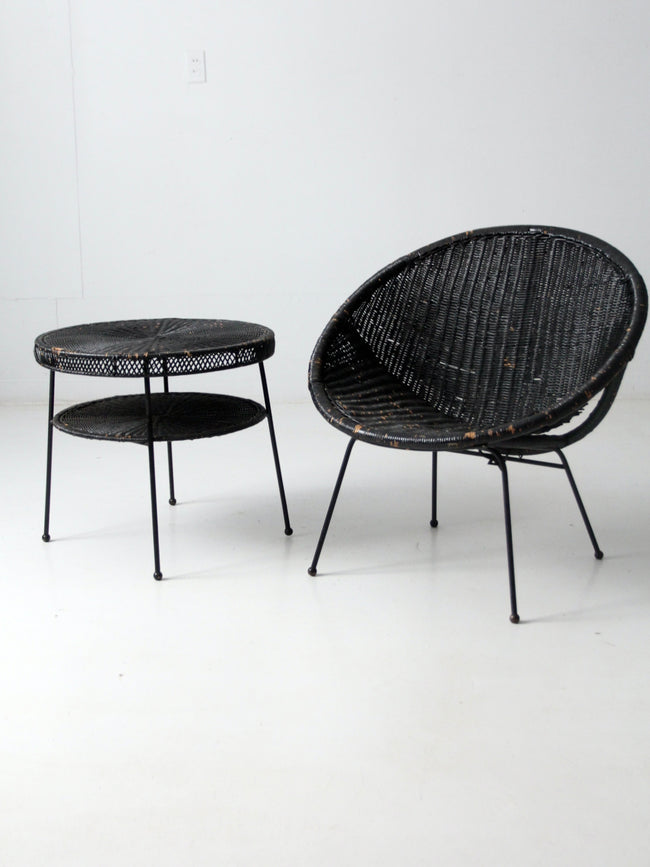 mid-century wicker patio set