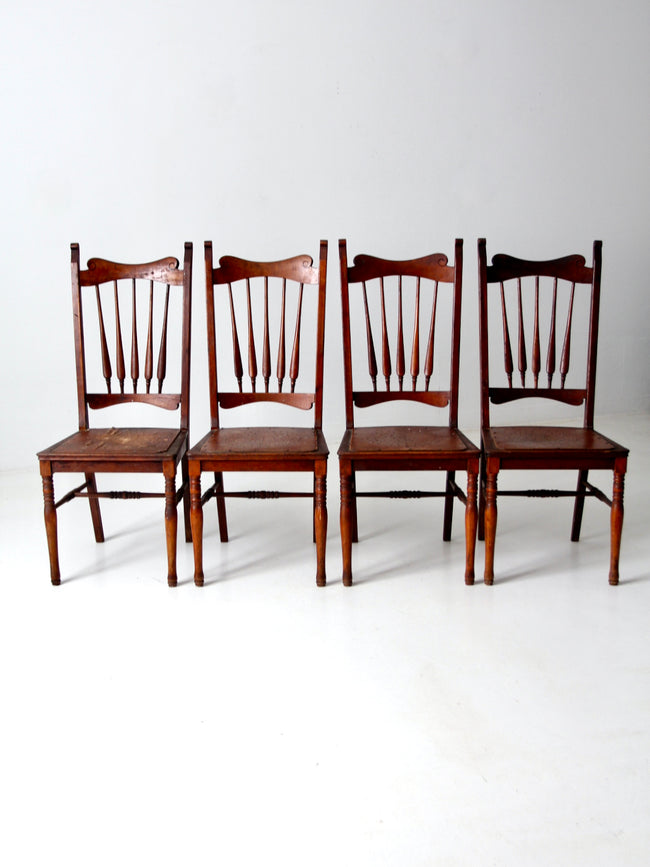 antique wooden dining chairs set/4