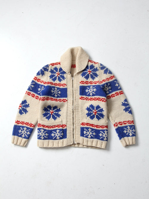vintage snowflake hand knit cowichan sweater