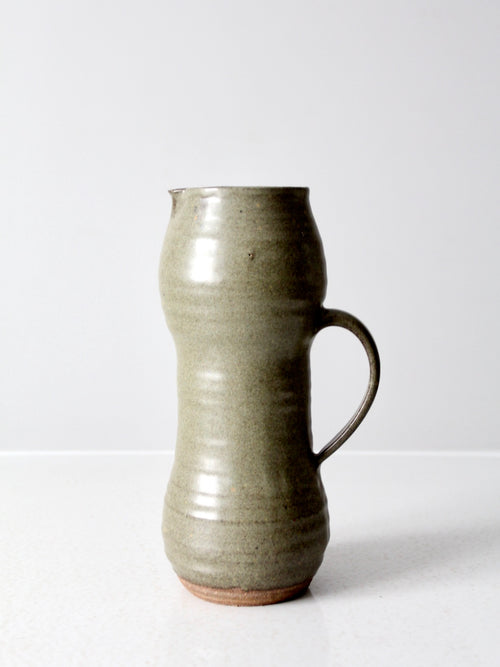 vintage tall studio pottery pitcher