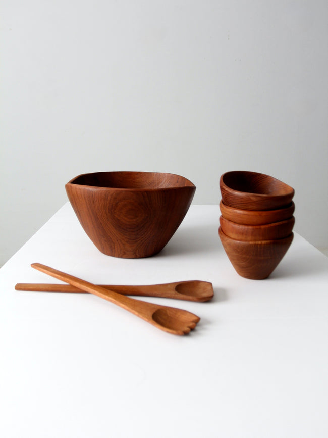 vintage teak serving bowl set