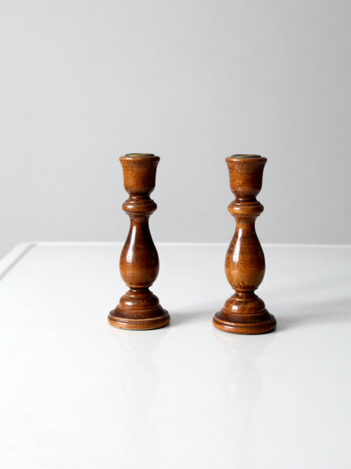 vintage wooden candlestick holders pair