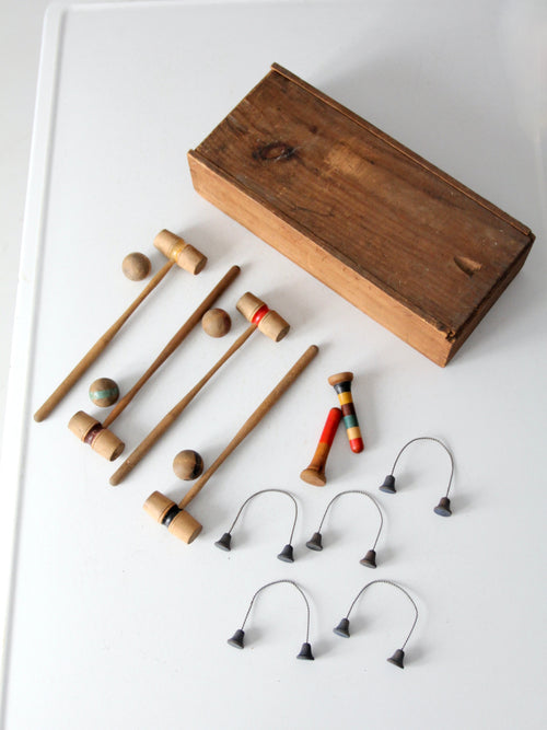 antique table croquet game set