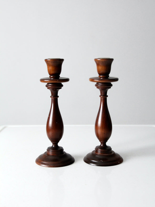 vintage wooden candlestick holders