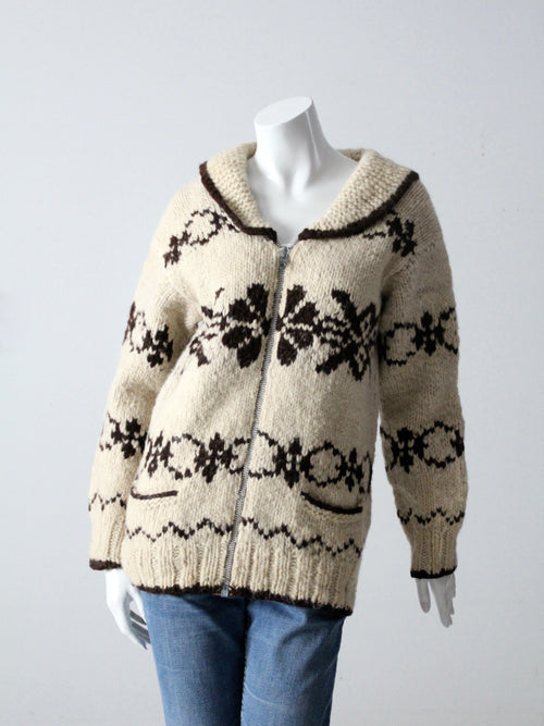 vintage snowflake cowichan style sweater