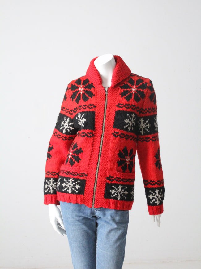 vintage red snowflake cowichan sweater