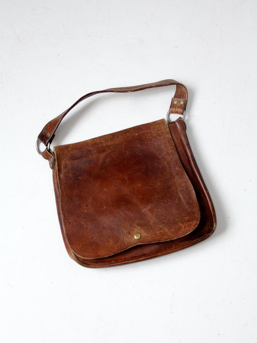 vintage 70s leather shoulder bag
