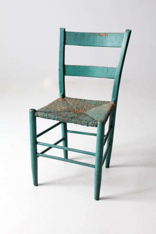 antique painted rush seat chair