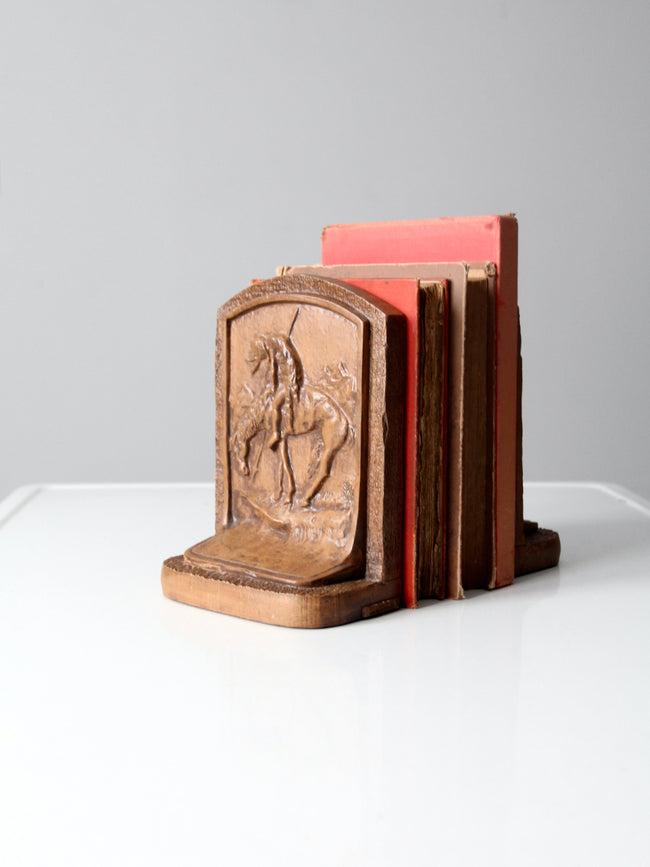 vintage End of Trail chalkware bookends