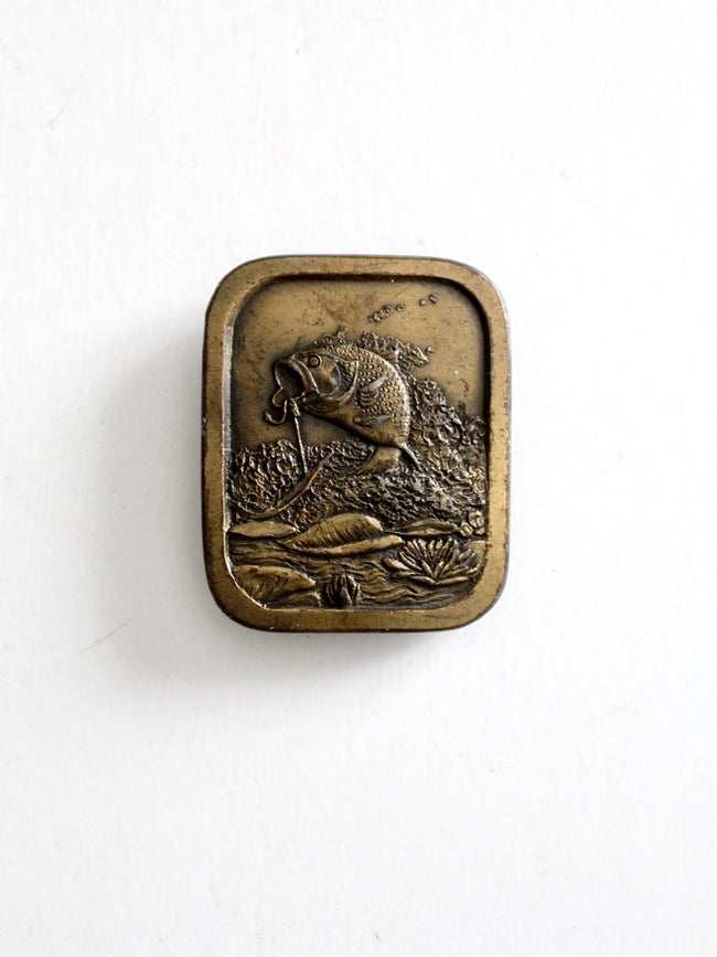 vintage 70s brass bass fishing buckle