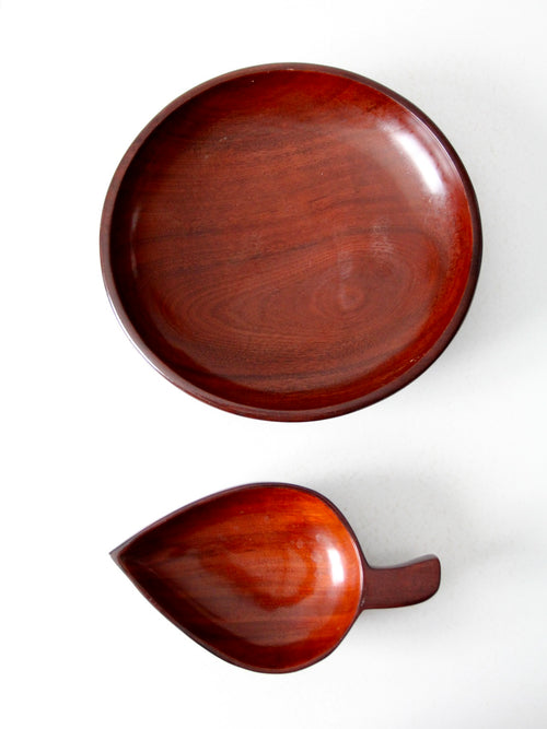 mid-century tropical wooden bowl pair