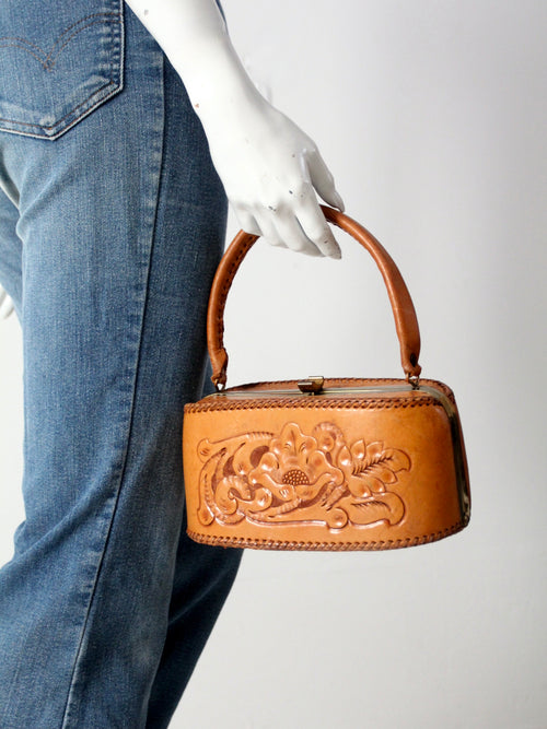 vintage tooled leather frame top bag