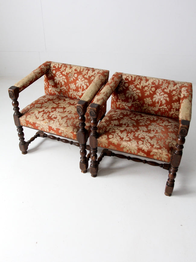 antique turned wood armchairs pair