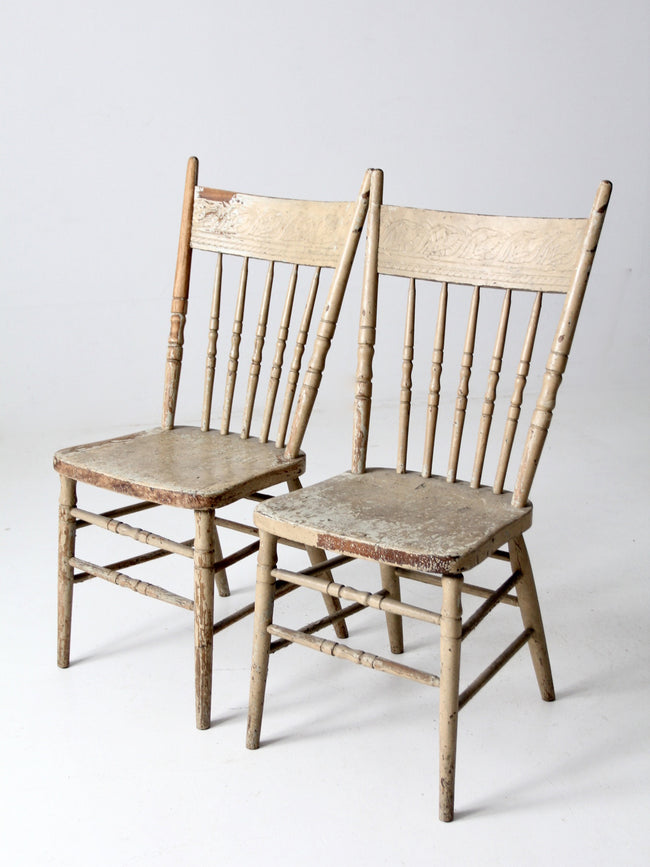 antique press back chairs pair