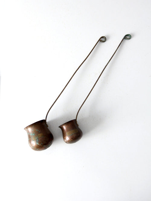 antique copper liquor ladles