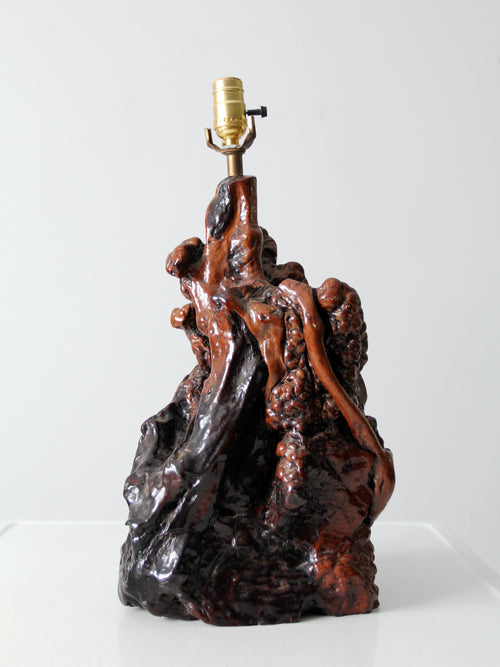 mid-century burl wood lamp