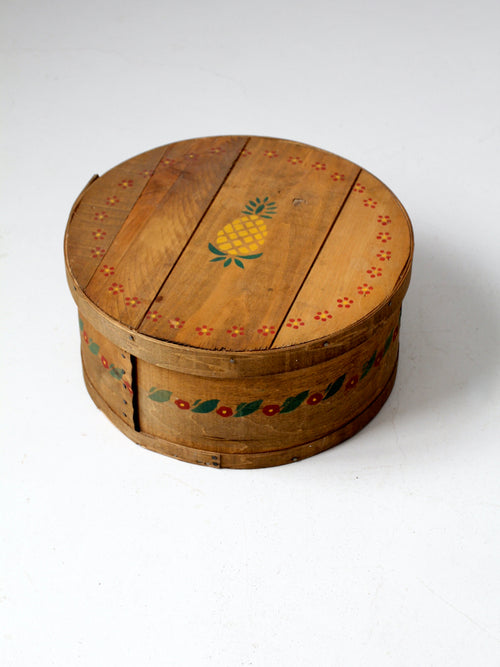 vintage stenciled wooden cheese box