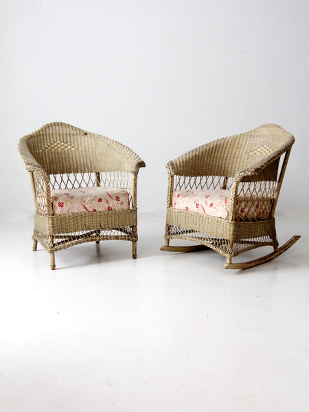 antique wicker chair and rocker