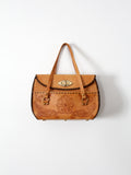 vintage tooled leather hand bag