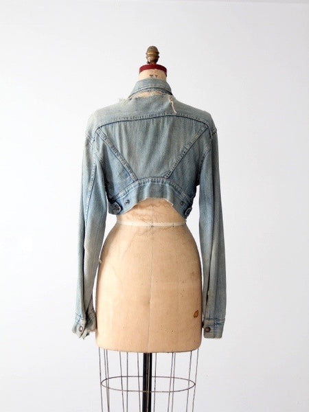 vintage distressed denim crop jacket